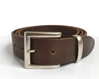 "Brown Leather Belt - 1"" 1/2 - Boyfriend Gift - Matt Silver Buckle - Handcrafted - Brown Belt - Bridle Leather Belt - Gift for Him"