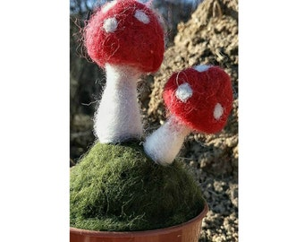 Toadstools In A Pot, Needle Felted Gift.
