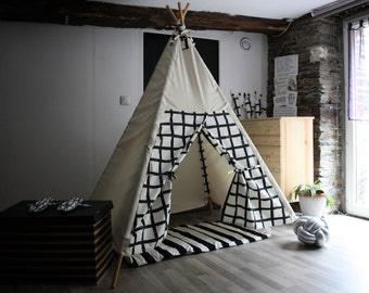 kids tipi, teepee tent, kids tent tipi, play teepee, kids play tent, teepee, black and white teepee, tipi enfants, WITHOUT WOOD POLES