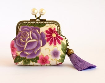 Hand crafted gold embossed Sakura Japanese coin purse with bronze kiss lock frame and pearly beads - collectable #0016