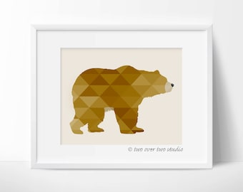 Bear Print, Geometric Wall Art, Woodland Nursery Printable, Grizzly Bear, Brown Bear, Forest or Wildlife Decor