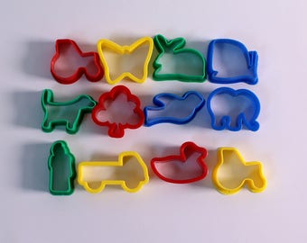 Small Plastic Dough Cutters Pack of 12 Washable Bright Colour Assorted Shape Dough Cutter Set