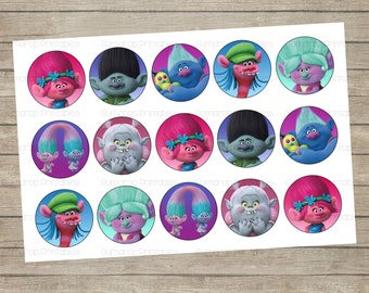 30%OFF TROLLS Bottle Cap Images ~ Instant Download ~ Trolls Hair Birthday Printable Image Sheet ~ 1 inch Circles ~ Cute Bottlecap TR_014