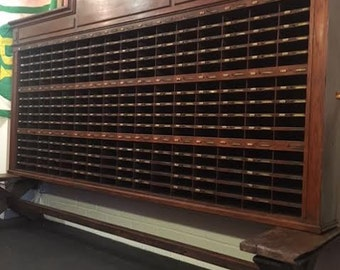 SOLD: 19th Century Antique Solid Oak, French Hotel Reception Desk, Key/Pigeon Holes. Stunning Piece!