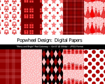 Christmas -- Merry and Bright -- Digital Paper Pack 12x12 -- RED -- Printable -- Personal and Commercial Use