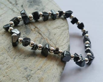 Black Hematite Crystal and Sterling Silver Strechy Bracelet, Trendy Gemstone Bracelet, Gemstone Jewellery, Uk Seller.