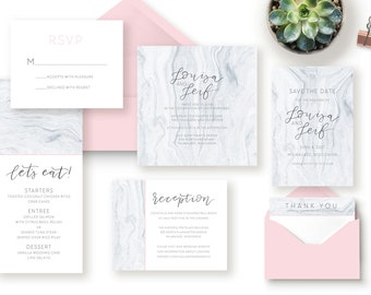 Marble and Blush Pink Calligraphy Wedding Invitation Suite / Simple / Brush Lettered / Modern / Printable Wedding Invitation / Save the Date