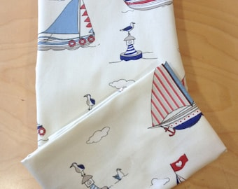 Ivory Nautical Cot/Cotbed duvet cover and pillowcase set.