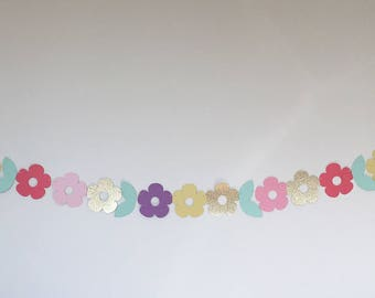 Flower and Petal in Pinks, Yellow, Purple and Gold Bunting