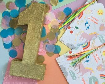Gold Glitter Paper Mache Number