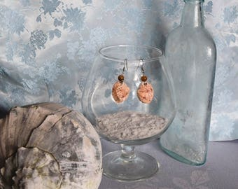 Calico Clam Shell Earrings with Tiger Eye and Metal Work