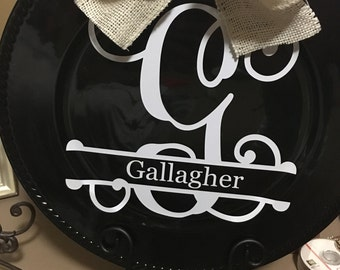 Monogrammed decorative charger plate