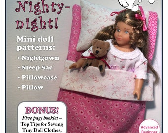 Sleeping bag for 6 inch mini dolls such as American Girl, Our Generation and Lori, both cloth and vinyl bodies
