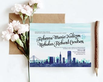 San Francisco, CA Watercolor Skyline Wedding Invitations | 4 Piece Invitation Stationery Suite | CUSTOMIZED to Match Your Wedding