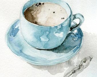 blue tea cup, watercolor, art print, watercolor painting, kitchen art, wall art, home decor, kitchen illustration, 5 x 7 print, coffee art