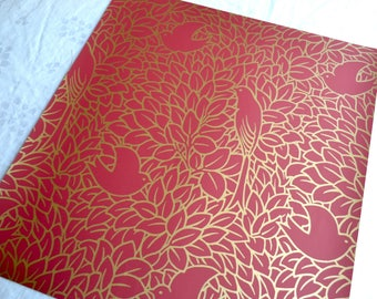 Wallpaper - Cole and Son  Sample Sheet  - 19 x 17  Dovedale Birds - Gold and Red