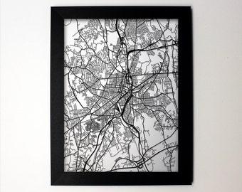 Worcester Map / Laser Cut Map / Worcester MA / Worcester Art / Worcester Massachusetts / Framed Map / Wedding Gift / Anniversary Gift