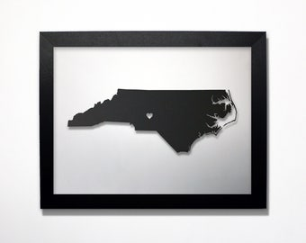 North Carolina Map / Laser Cut Map / North Carolina State Art / North Carolina Art / Framed State Map / North Carolina Gift / Wedding Gift