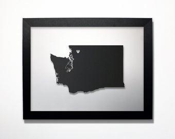 Washington Map / Laser Cut Map / Washington State Art / Washington Art / Framed State Map / Washington Gift / Wedding Gift / Anniversary