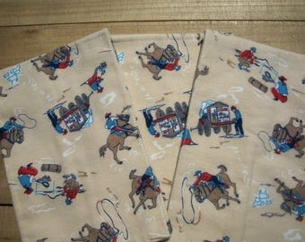 Cowboy Baby Burp Cloths Set Of 3 Flannel