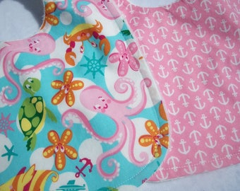 Baby/Toddler Girl Bibs Set Of 2 Beach Anchors Ready To Ship