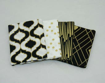 OVERSTOCK Metallic Gold Fat Quarters, Set of 4 100% cotton, Fabric by the Yard, Black Fabric, Black and Gold,
