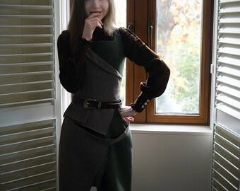 Steampunk Vintage Jumper Dress Military Navy Midi Dress *Brown Green