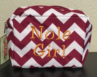 Monogrammed Make up Bag Cosmetic Case Toiletry Bag Chevron Print Maroon and White