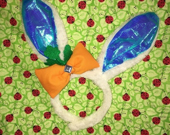 White and blue easter bunny ears