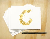 Letter C Stationery - Choose Your Color - Personalized Gift - Set of 6 Block Printed Cards - Made To Order