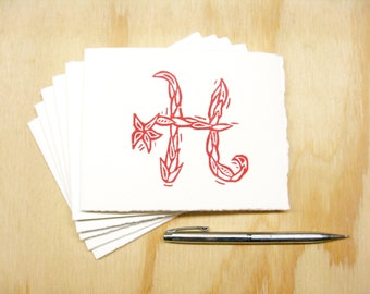 Red Letter H Stationery - Personalized Gift - Set of 6 Block Printed Cards - READY TO SHIP