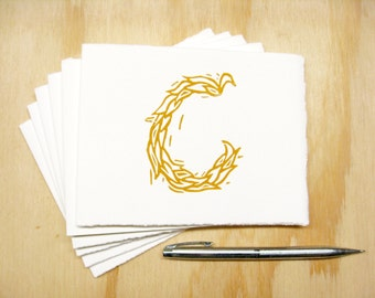 Letter C Stationery - Set of 6 Block Printed Cards - Choose Your Color - Personalized Gift - MADE TO ORDER