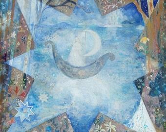 "Lady of the Lake, Fairytale Card, Fantasy Car, Moon boat, Fairy Art, Fairy tale card, Moon Boat 5.6 x 4 "" greeting card, Lady of the lake"