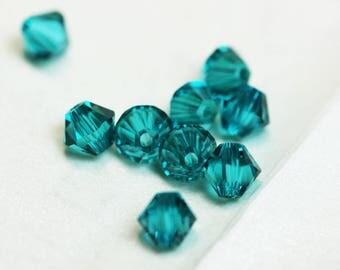 25pc Blue Zircon 4mm 5328 Swarovski crystal   Bicone shape Jewelry Beads,Hole1mm-SCB229