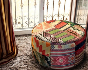 One of the kind handmade kilim pouf