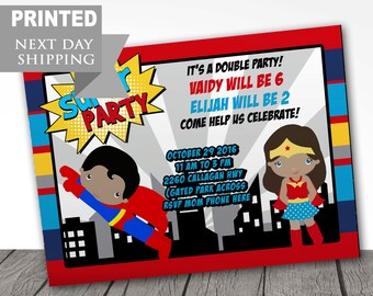 PRINTED superman birthday party invitations, wonder woman party invitations, dark skin, FAST FREE shipping, envelopes included