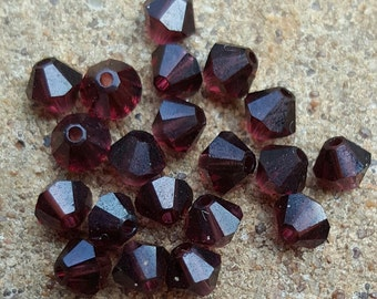 Swarovski 4mm Bicone Faceted Crystal Beads - BURGUNDY - Select 10, 20, 50 or 100 Beads