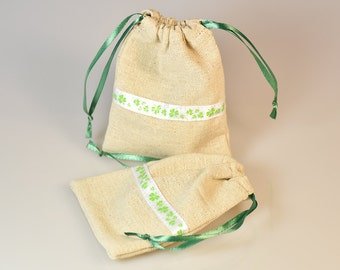 SALE! Natural linen bags, gift pouches 10 pieces set of gray linen bags with green shamrock, size 3 x 4 inches