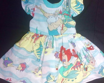Little Mermaid Vintage toddler big girls dress Flutter sleeves Sebastain Flounder Castle Princess Walt Disney World Land WDW Clothes