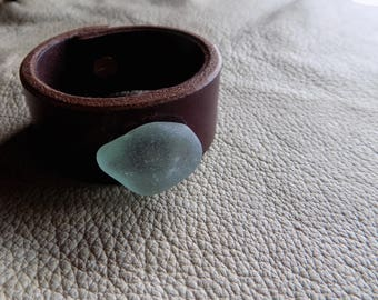 Custom crafted brown leather cuff bracelet with sea glass and brass stud closure