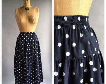 1980's Navy Polka Dot Drop Waist Midi Skirt