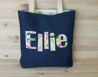 Personalized Tote Bag for Kids Diaper Bag Name Bag Library School Bag for Girls Personalized Gift for Girls Library Tote