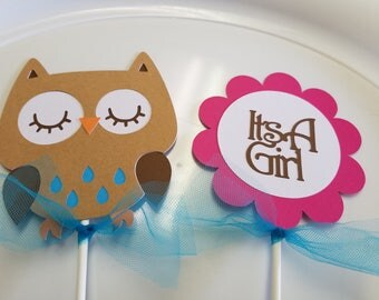 Owl Baby Shower centerpiece sticks