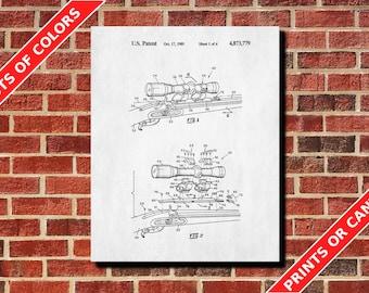 Rifle Scope Print Gun Blueprint Patent Art Decor Gun Scope Poster Telescopic Sights
