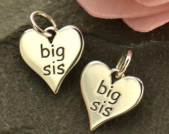 Sterling Silver Big Sis Charm. Big Sister Jewelry. Lil Sis Charm.
