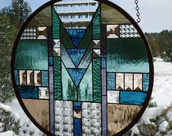 """stained glass window panel""""ARTS&CRAFTS""""#1,frank lloyd wright style, prairie style, mission style,craftsman style,stained glass sun catcher"""