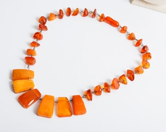 Vintage necklace, Natural Genuine Baltic amber beads, butterscotch  (DZ)