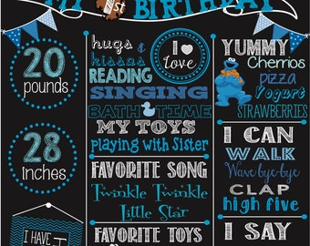 First Birthday Cookie Monster chalkboard poster- Sesame Street digital file