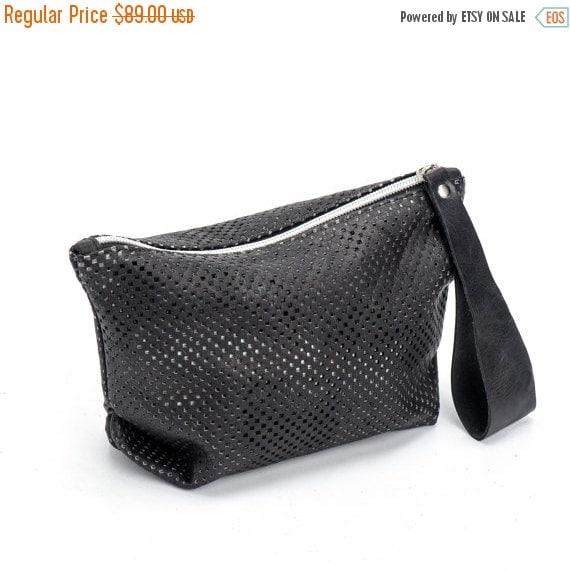 Black Evening Clutch / Women Leather Wristlet Purse / Handbag / Perforated Leather Bag /  Elegant Purse /  Lined Zipper Wallet - Komo