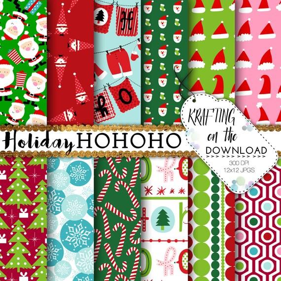 Santa Digital Paper Pack red green santa scrapbooking pages christmas santa papers cute fun santa ho ho ho instant download
